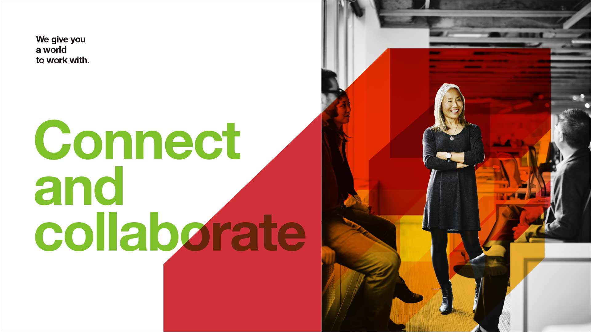Connect and collaborate design concept, Avery Dennison employer brand, woman in meeting, highlighted by color