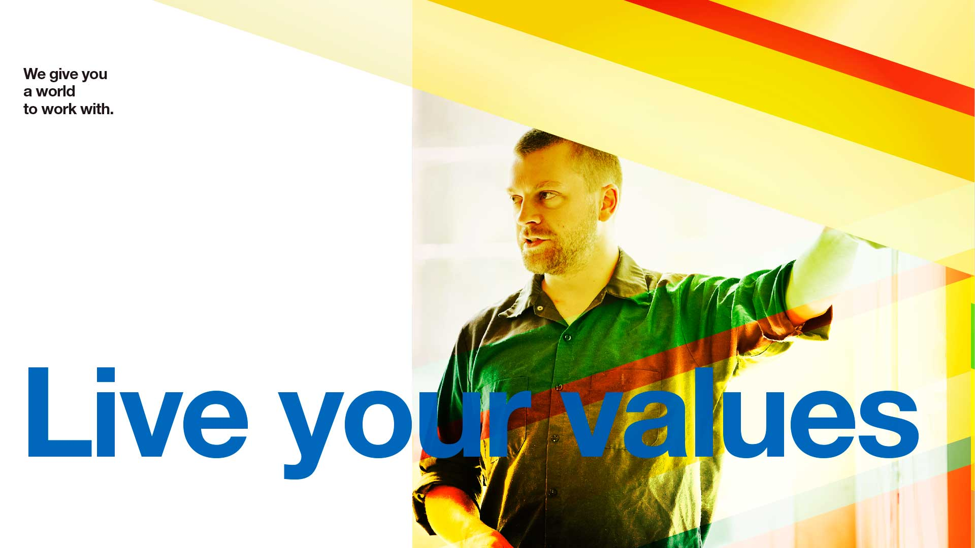 Live your values design concept. Avery Dennison employer brand. Man giving presentation, highlighted by color.