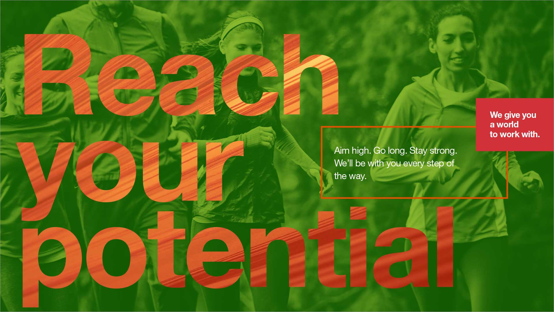 reach your potential design concept. Avery Dennison employer brand, group of runners, big message, bold color