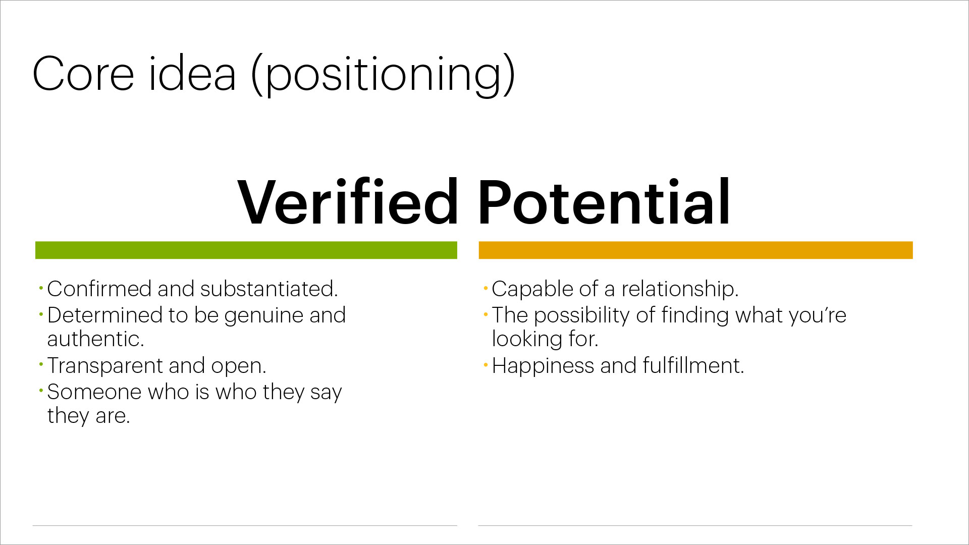 bTru positioning statement: Verified Potential. Detailed description of positioning statement.