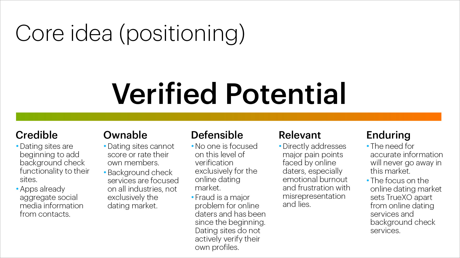 bTru positioning statement: Verified Potential. Analysis of the uniqueness and durability of the positioning statement.